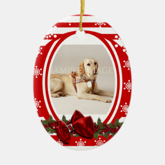 Pet memorial photo PERSONALIZE Ceramic Oval Ornament