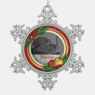 Pet Memorial Photo Personalize Pet Loss Condolence Snowflake Pewter Christmas Ornament