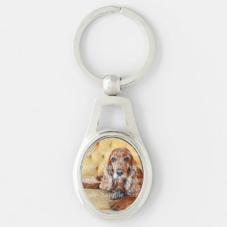 Pet memorial photo PERSONALIZE Silver-Colored Oval Keychain