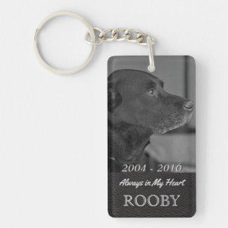 Pet Memorial Photo   Tribute In My Heart Double-Sided Rectangular Acrylic Keychain