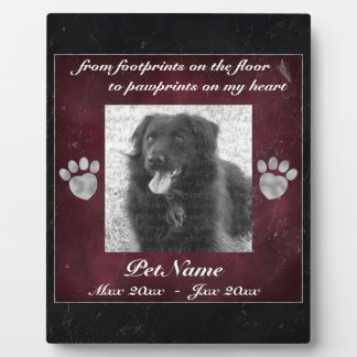 Pet Memorial Red Black Marble Effect Silver Paws Plaque