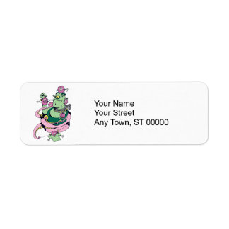 pet monster with pets funny vector cartoon return address label