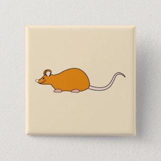 Pet Mouse. Cinnamon Color. 2 Inch Square Button