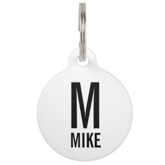 Pet Name and Monogram with Owner's Contact Info Pet Tag