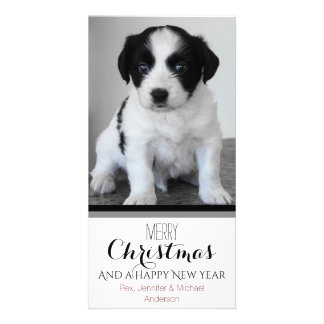 Pet or Puppy Black White Holiday Christmas Picture Card