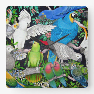 Pet Parrots of the World Wall Clock