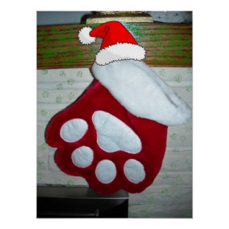 Pet Paw Christmas Stocking Poster
