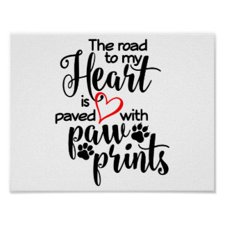 Pet Paw Heart Poster