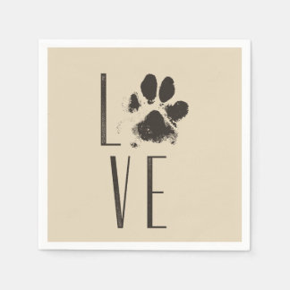 Pet Paw Print Love Typography Paper Napkin