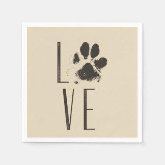 Pet Paw Print Love Typography Paper Napkins