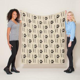 Pet Paw Print Love Typography Pattern Fleece Blanket
