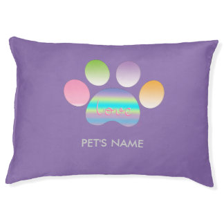 """""""Pet Paw Print with Love"""" Customizable Large Dog Bed"""
