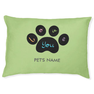 """""""Pet Paw Print with Love You"""" Customizable Large Dog Bed"""