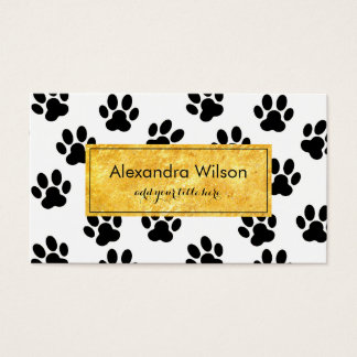 pet paw prints black and white business card
