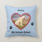 Pet paw prints memorial your photo pillow
