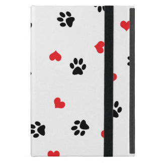 Pet paws and minimalist red hearts pattern case for iPad mini