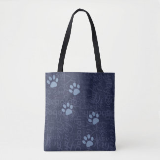 pet paws with a pattern of names on blue tote bag
