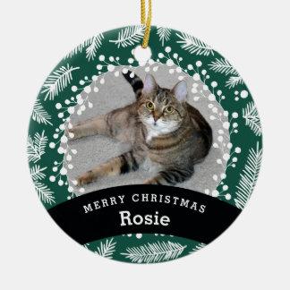 Pet Personalized Evergreen Christmas Ceramic Ornament