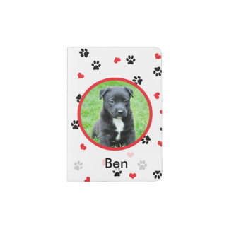 pet photo and name with paws and hearts pattern passport holder