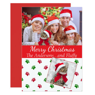 Pet Photo Christmas Card with Paw Prints