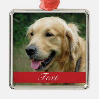Pet Photo customizable Silver-Colored Square Ornament