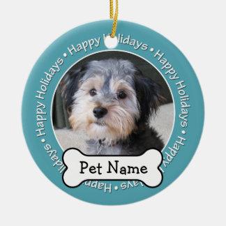 Pet Photo Frame with Dog Bone SINGLE-SIDED Ceramic Ornament