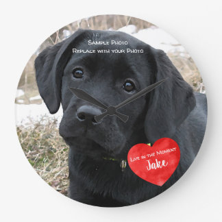Pet Photo Memorial - Add Your Photo - Dog Photo Large Clock