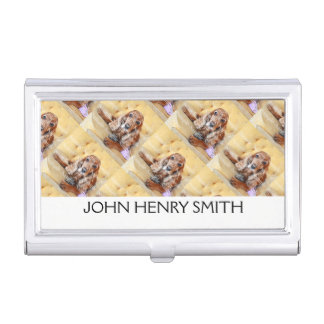 Pet photo personalize name monogram case for business cards