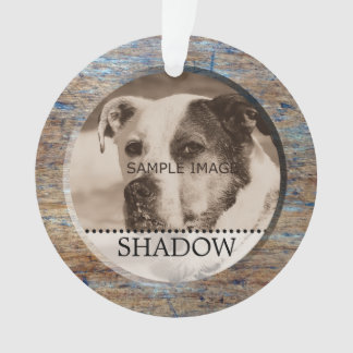 Pet Photo Personalized Name Rustic Wood Christmas Ornament