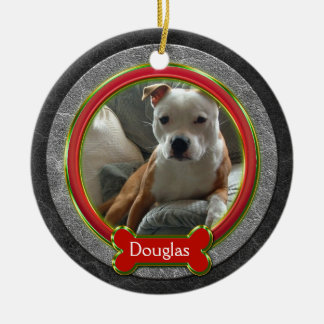 Pet Photo Red Green Gray Leather Christmas Ceramic Ornament