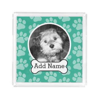Pet Photo with Dog Bone and Paw Prints Green Perfume Tray