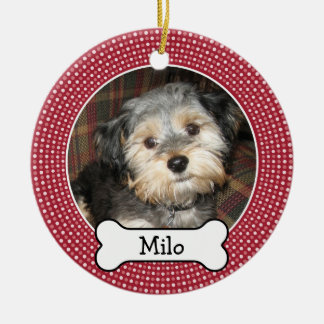 Pet Photo with Dog Bone - Double Sided Christmas Tree Ornaments