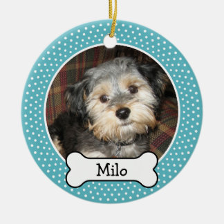 Pet Photo with Dog Bone - Double Sided Round Ceramic Ornament
