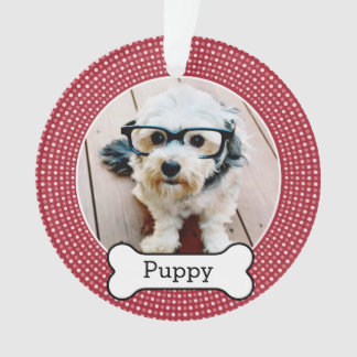 Pet Photo with Dog Bone - red polka dots