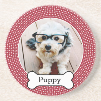 Pet Photo with Dog Bone - red polka dots Drink Coaster