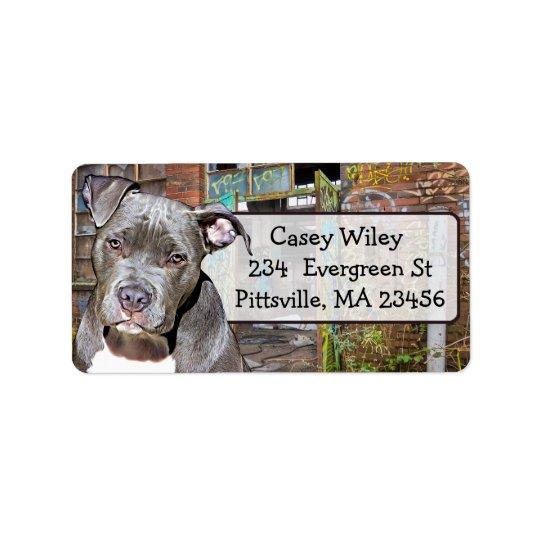 Pet Pitbull Dog Graffiti background  Address Label