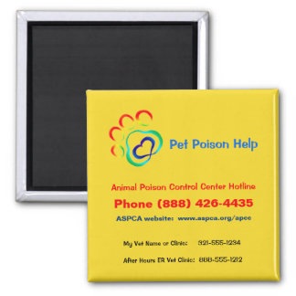 Pet Poison Magnet, Hotline and Custom Numbers Magnet