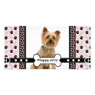 Pet Portrait Photo Card Paw and Bone
