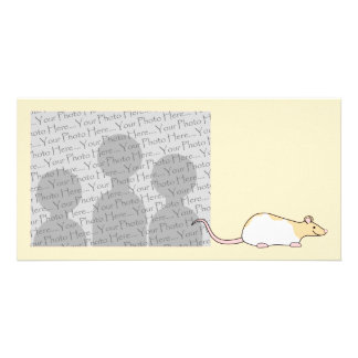 Pet Rat. Fawn and White Hooded Variegated. Photo Card Template