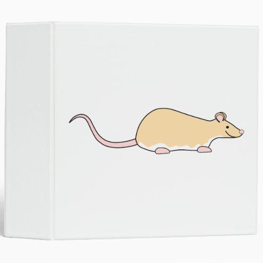 Pet Rat. Fawn Berkshire, White Belly. Vinyl Binder
