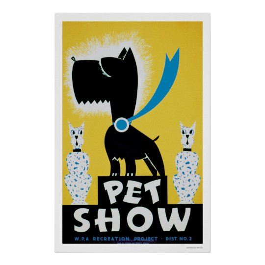 Pet Show Dog Cat 1937 WPA Poster
