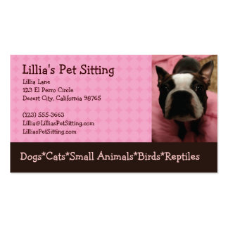 Pet Sitter Boston Terrier Pack Of Standard Business Cards