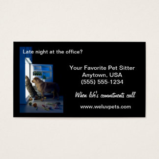 Pet Sitter Business Cards Dog & Cat Home Alone