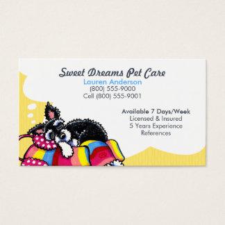 Pet Sitter Care Business Schnauzer Puppy Yellow Business Card