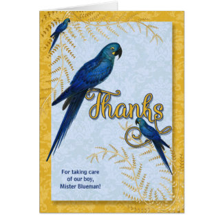 Pet Sitter Thank You Hyacinth Macaw Parrot Custom Card