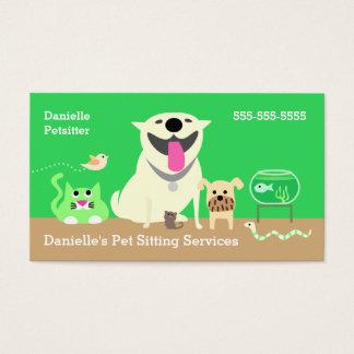Pet Sitters Business Card-green Business Card