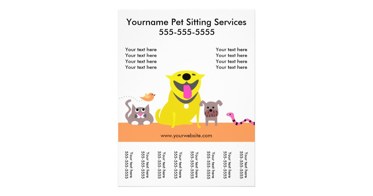pet sitter s flyer with tags dog cat bird snake zazzle ca