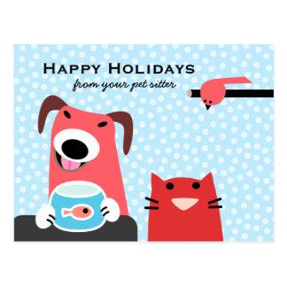 Pet Sitter's Happy Holidays Postcard