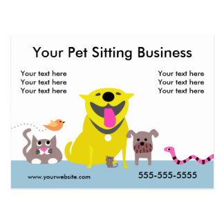 Pet Sitter's Promotional Postcard - blue