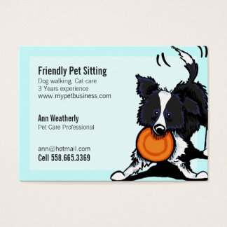 Pet Sitting Border Collie Friendly Bright Business Card